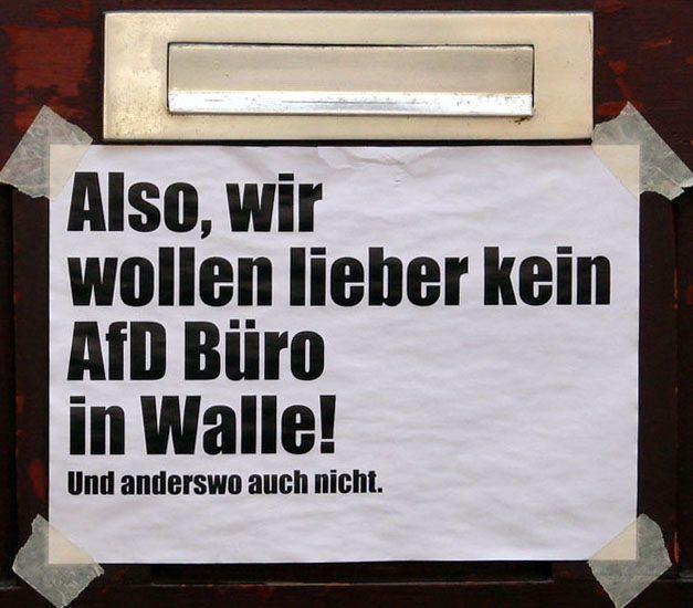 Protest gegen AfD-Büro in Walle